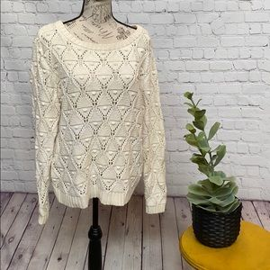 Tommy Hilfiger crochet pom knit sweater cream boho